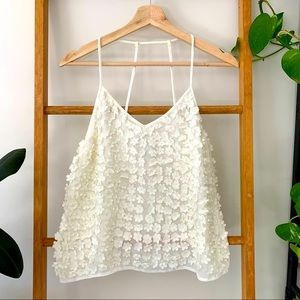 Topshop Cream Floral Beaded All Over Trim Camisole